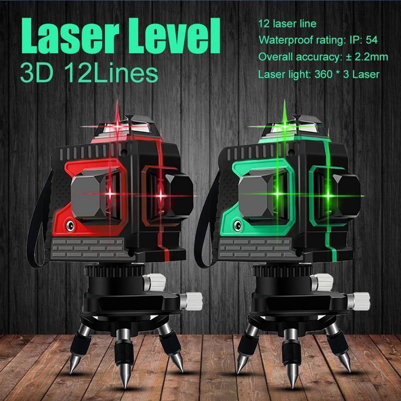 3D IP54 Wasserdicht 12 Linien Grün Laser Ebenen Selbst Nivellierung 360 Horizontale Und Vertikale Kreuz Super Leistungsstarke Grün Laser strahl