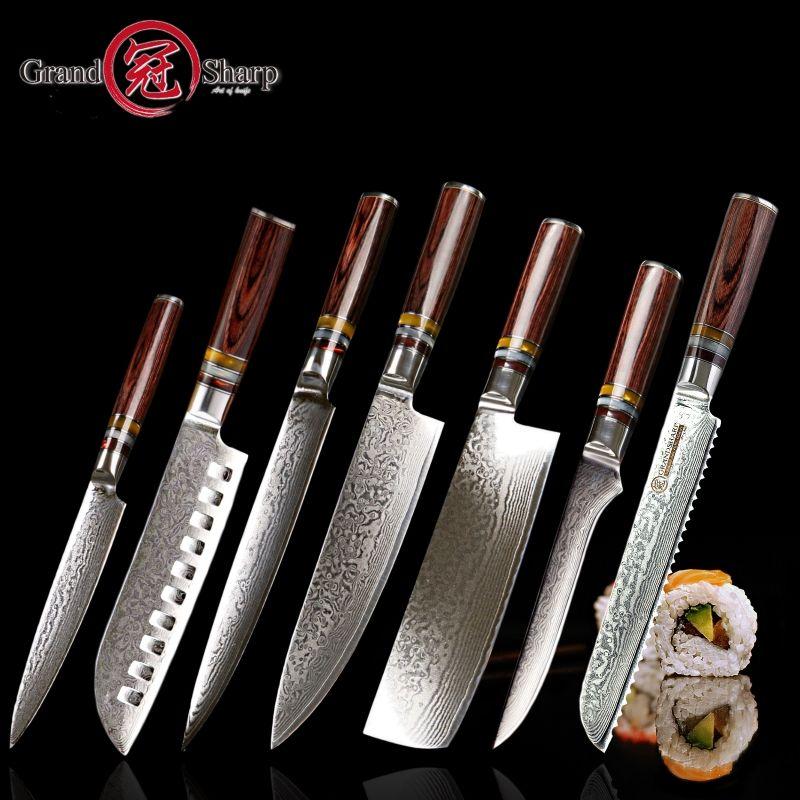 Grandsharp 7 stücke Damaskus messer set vg10 Japanischen Damaskus stahl küchenmesser voll chef der set beste familie geschenk kochen werkzeuge