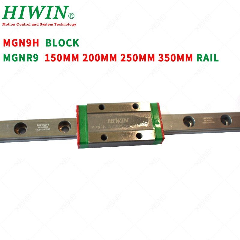 HIWIN MGN9H Long guide block carriages with MGNR9 guideway rail 100mm 200mm 250mm 300mm for DIY CNC parts