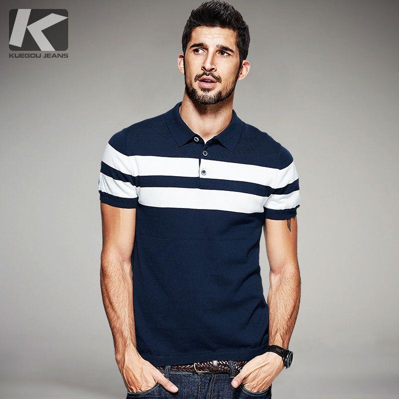 KUEGOU Nouveau D'été Hommes Tricoté Polo Chemises 100% Coton Rayé Bleu Marque Vêtements Homme de Porter À Manches Courtes Mince Vêtements 16972