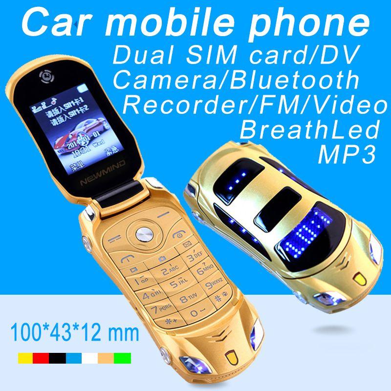 Newmind F15 Flip débloqué MP3 MP4 FM lampe de poche double cartes SIM Super petite voiture modèle Mini téléphone portable P431