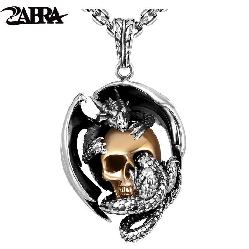 ZABRA 925 Silber Drachen mit Gold Farbe Schädel Männer Anhänger Halskette Vintage Punk Rock Biker Männer Bar Zubehör Sterling Schmuck