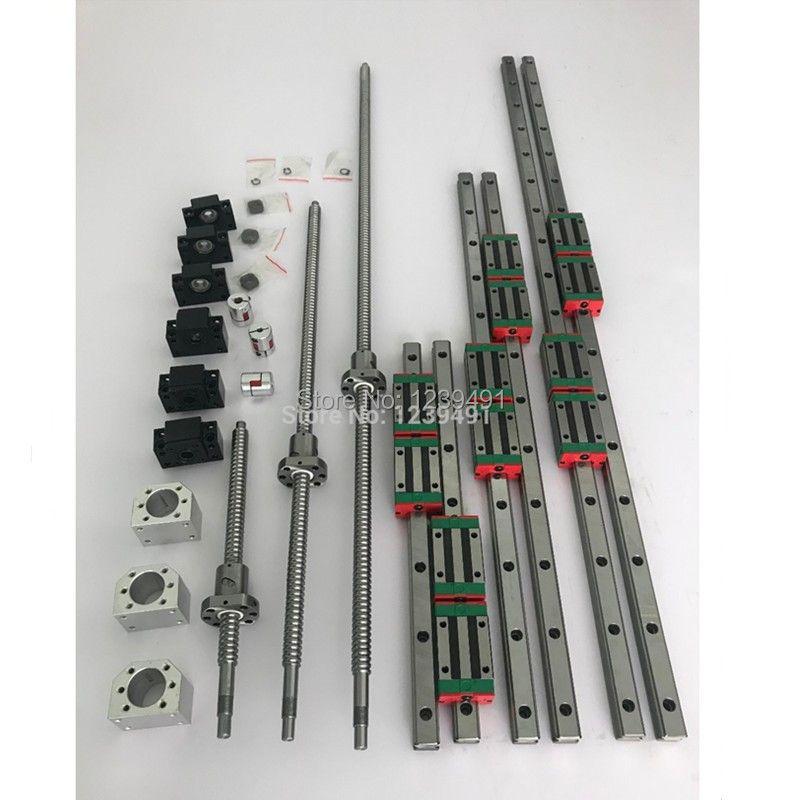 RU lieferung 6 satz HGR20-400/700/1000mm linearführungsschiene + SFU1605-400/ 700/1000mm kugelumlaufspindel + BK12/BF12 + Mutter gehäuse CNC teile