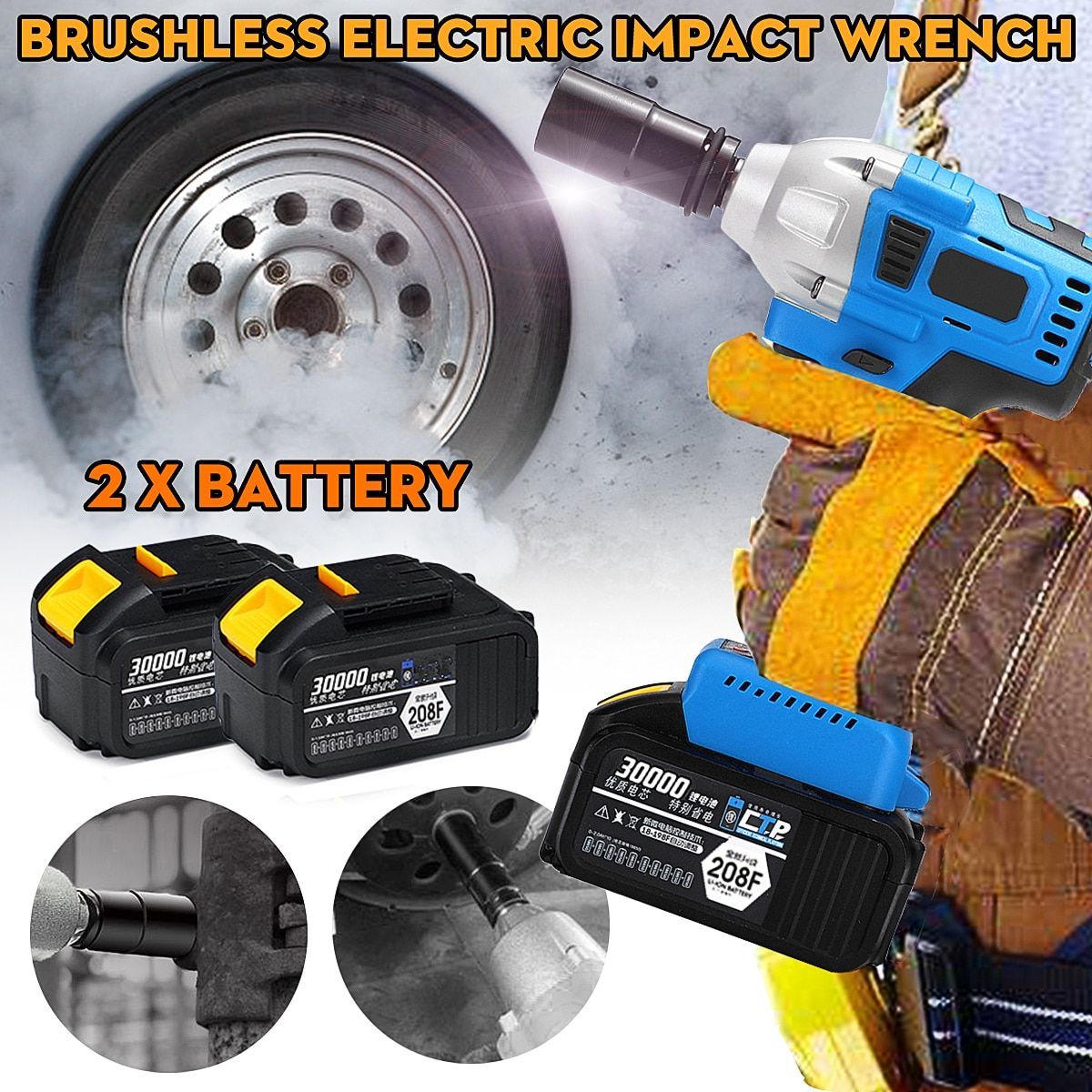 128/188/208F Brushless Cordless Wrench Impact Socket Tool With 2 Batteries 15000/20000/30000mAh Hand Drill Power Tools