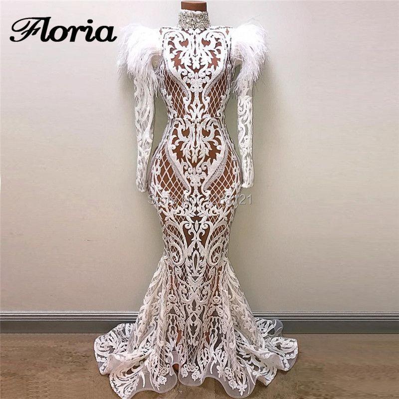 Weiß Sexy Transparent Abendkleider Kaftan Islamische Arabisch Prom Kleid Türkische Nahen Osten Hochzeit Party Kleider Robe de soiree