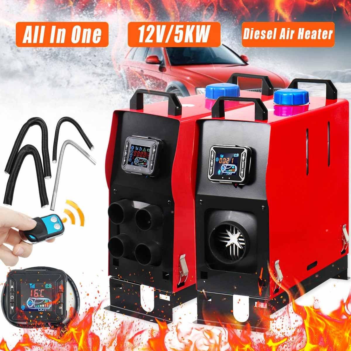 Alle In 1 LCD 1/4 Löcher Diesel Luft Heizung 12 V 5KW PLANAREN Für Auto Lkw Anhänger Mit Fernbedienung monitor Geräuscharm Automatische