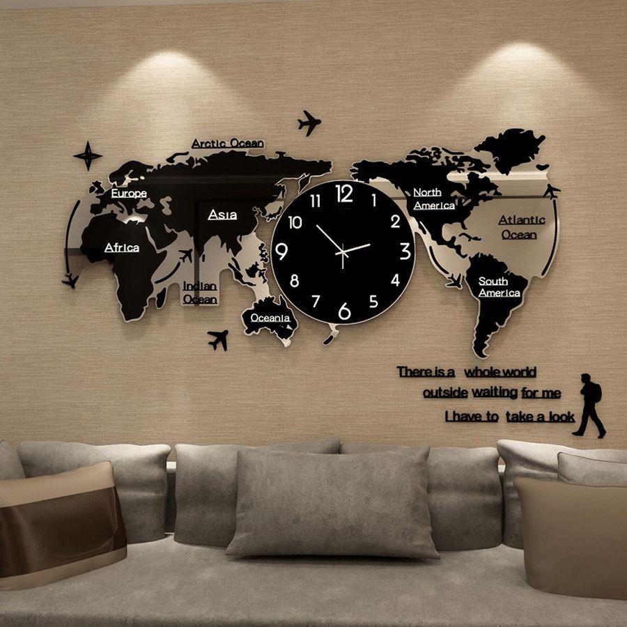 3D Aufkleber Welt Karte Große Wanduhren Modernes Design Uhr Glowing In Dark Einzigartige Schweigen Uhr Wanduhren Wohnkultur