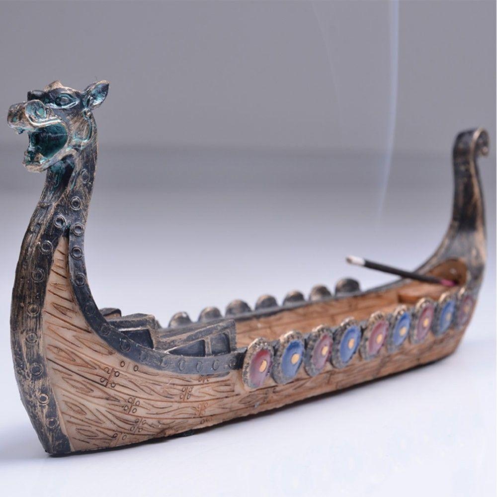 Brûleur d'encens Dragon bateau bois Figurines décoration de la maison traditionnelle chinoise animaux Miniatures porte-encens ornements