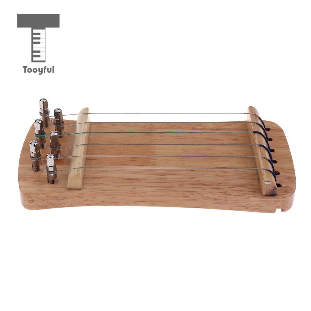 Tooyful Exquisite Massivholz Mini 6 String Guzheng Chinesische Zither Hand Trainer Gu Zheng Finger-ausbildung Exerciser