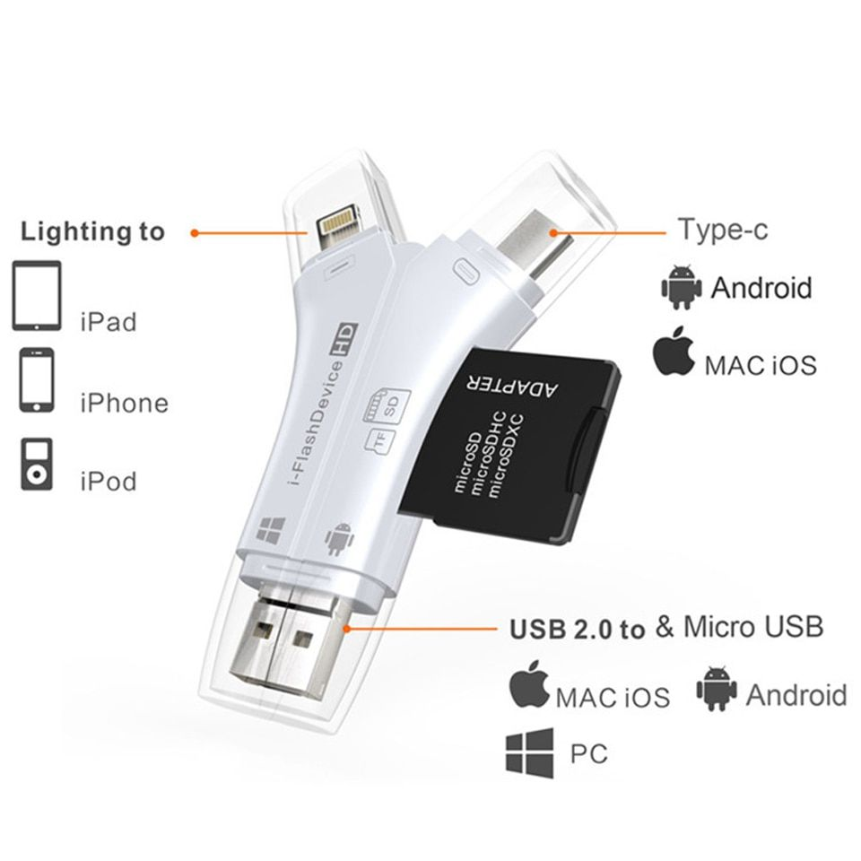 Card Reader 4 in 1 i Flash Drive USB Micro SD&TF Card Reader Adapter for iPhone 5 6 7 8 X for iPadMacbook Android Camera Tpye C