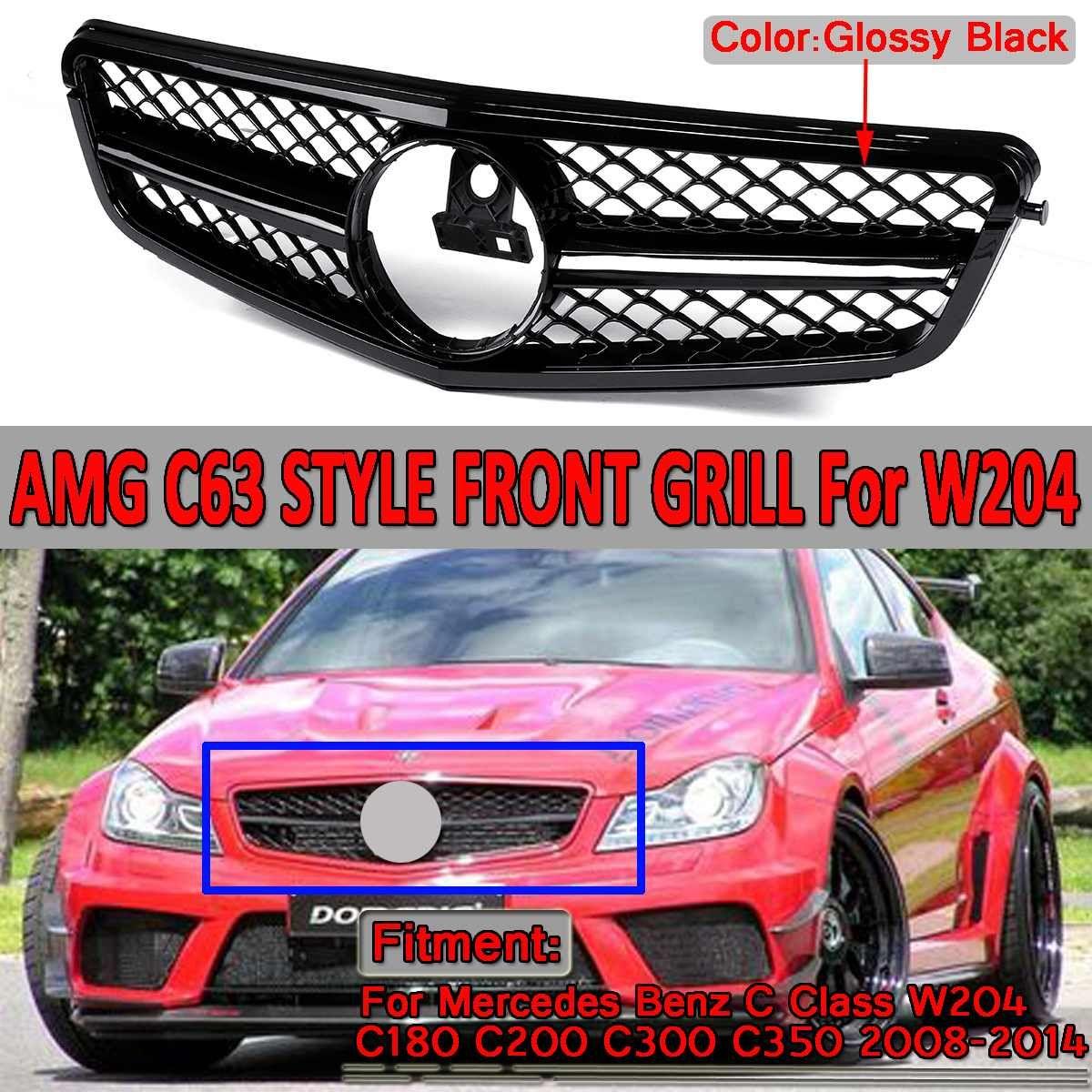 W204 C63 Grill Auto Front Oberen Kühlergrill Grill Für Mercedes Für Benz C Klasse W204 C180 C200 C300 C350 2008 -2014 für AMG C63 Stil