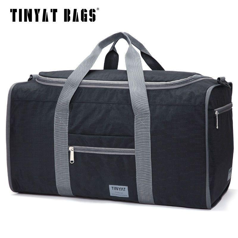 TINYAT hommes hommes sac de voyage sac pliant portable Molle femmes fourre-tout imperméable en Nylon décontracté voyage sac polochon noir bagages T-306