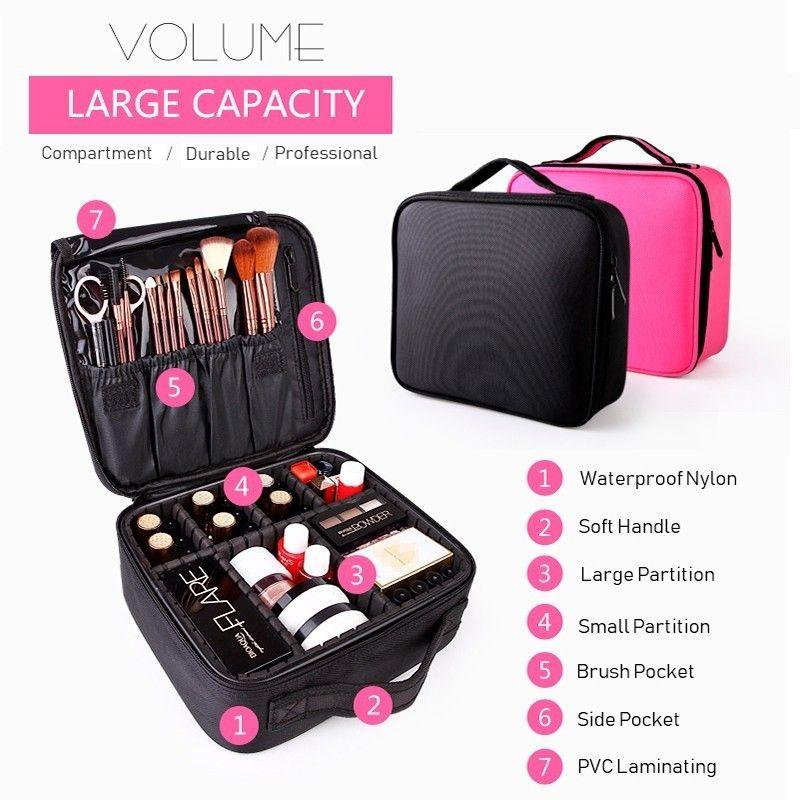 Étui cosmétique trousse de toilette pour femme organiseur de voyage Six compartiments sac de maquillage grande capacité cosmétique valise maquillage
