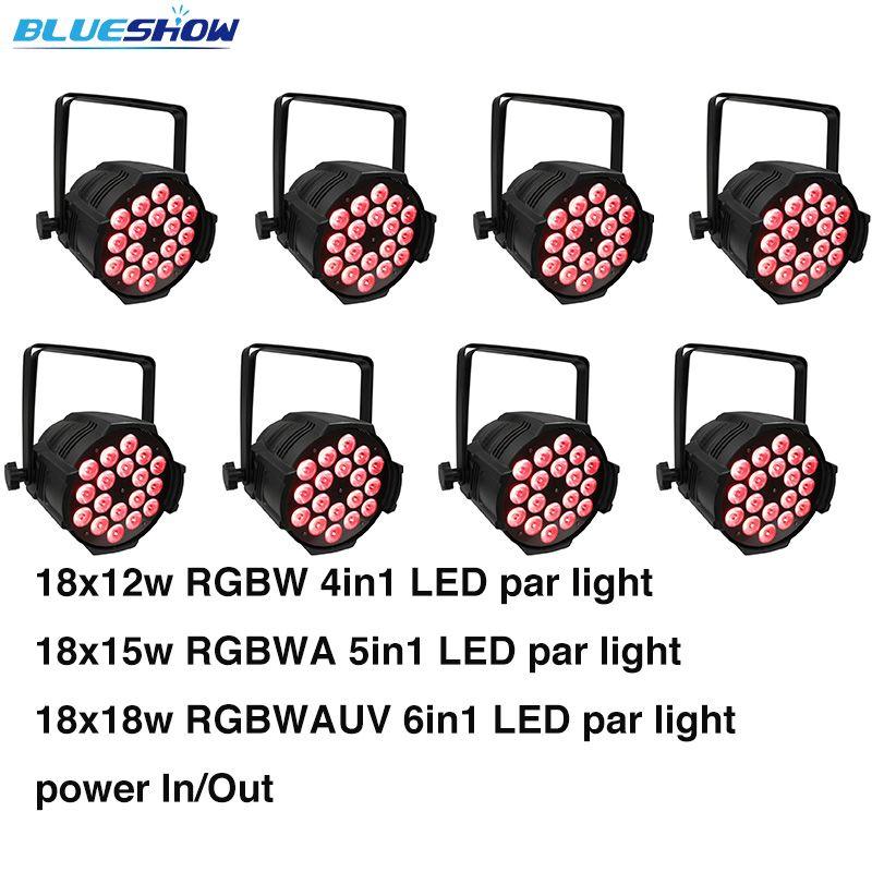 Pas de taxe personnalisée Par mer, 8 pcs/lot LED par lumière 18x12 W RGBW 4in1 ou 18x15 w RGBWA 5in1 ou 18x18 w RGBWA + UV 6in1 Par 64 étapes DMX