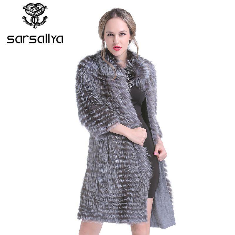 SARSALLYA Neue winter Frauen Echt Silber Fuchs Pelz Mäntel Mode Pelz Jacke Gestreiften Stil Mantel Frauen Fuchs Pelz Oberbekleidung Kleidung