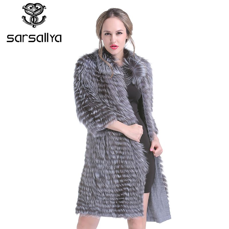 SARSALLYA New winter Women Real Silver Fox Fur Coats Fashion Fur Jacket Striped Style Overcoat Women Fox Fur Outerwear Clothes