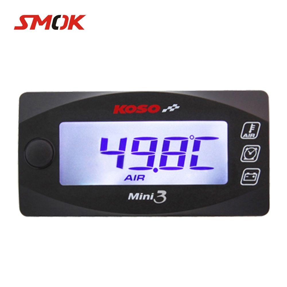 SMOK Universal Motorcycle Multi-Function Mini 3 Digital Air Temperature Thermometer Time Voltmeter Water Meter Gauge For KOSO