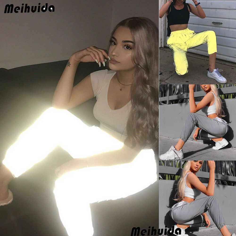 Hirigin Brand Unif Sweatpant For Women 2018 New Reflective Pants Hip Hop Dance Show Party Night Jogger Baggy Trousers