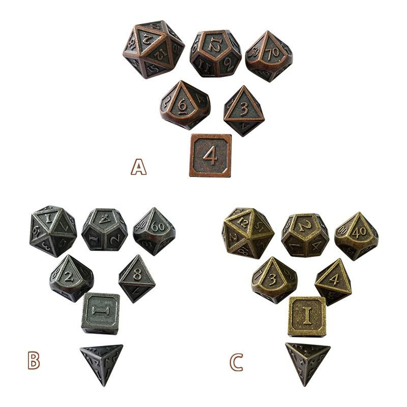 7pcs/set Creative RPG Dice D&D Metal Dice Set For Dungeons Dragons Innovative Metal Dice Set Entertainment Toy