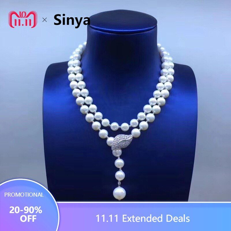 Sinya Sweater chain Round Natural pearls strand long necklace for Women Girls Mum lover newest gift Double-deck Pearl chocker