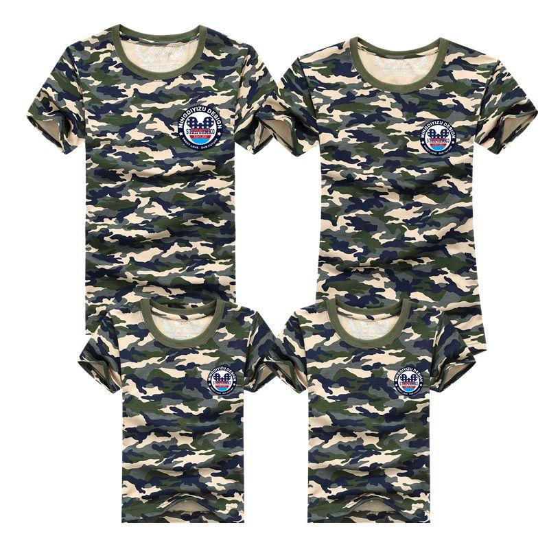 1 pièces famille t-shirts 2016 été famille correspondant vêtements armée couleur famille Look T-shirt t-shirts pour mère fille père fils enfants