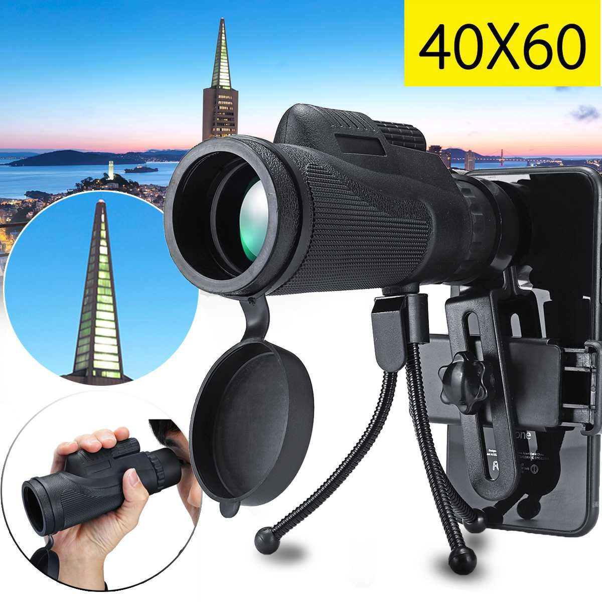 40X60 Telephone Telescope Lens Smartphone Monocular Telescope Scope Camera Camping Hiking Fishing with Mobile Phone Clip Tripod