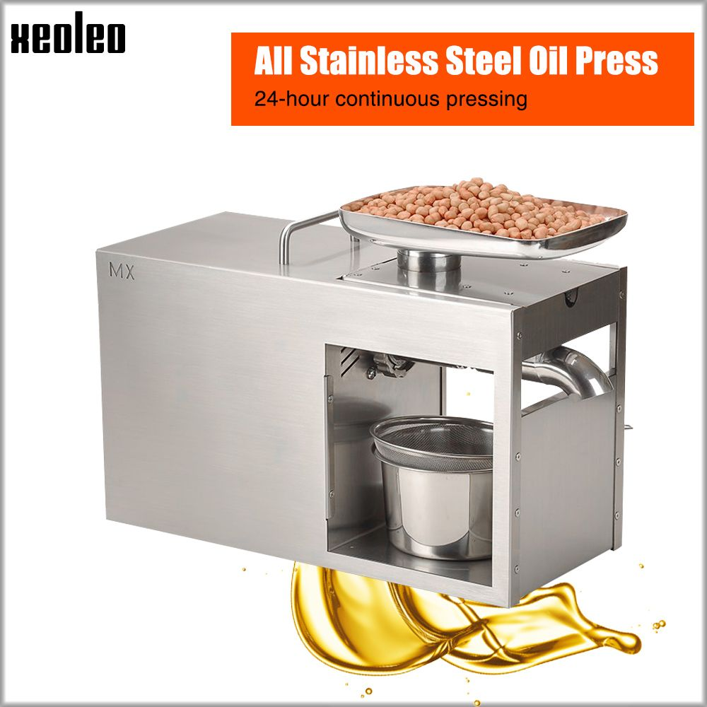 Xeoleo Stainless steel Oil presser 1500W Commercial&Home Flax seed Oil press machine Cold&Hot press Oil machine for peanut/Olive