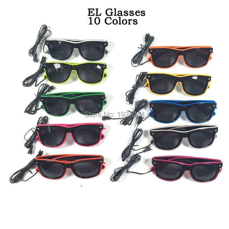 Hot EL Glasses with Black Lens 23pcs/pack 10 Colros Select Neon Light LED Light up Gllasses Glow Party Decorative Glasses