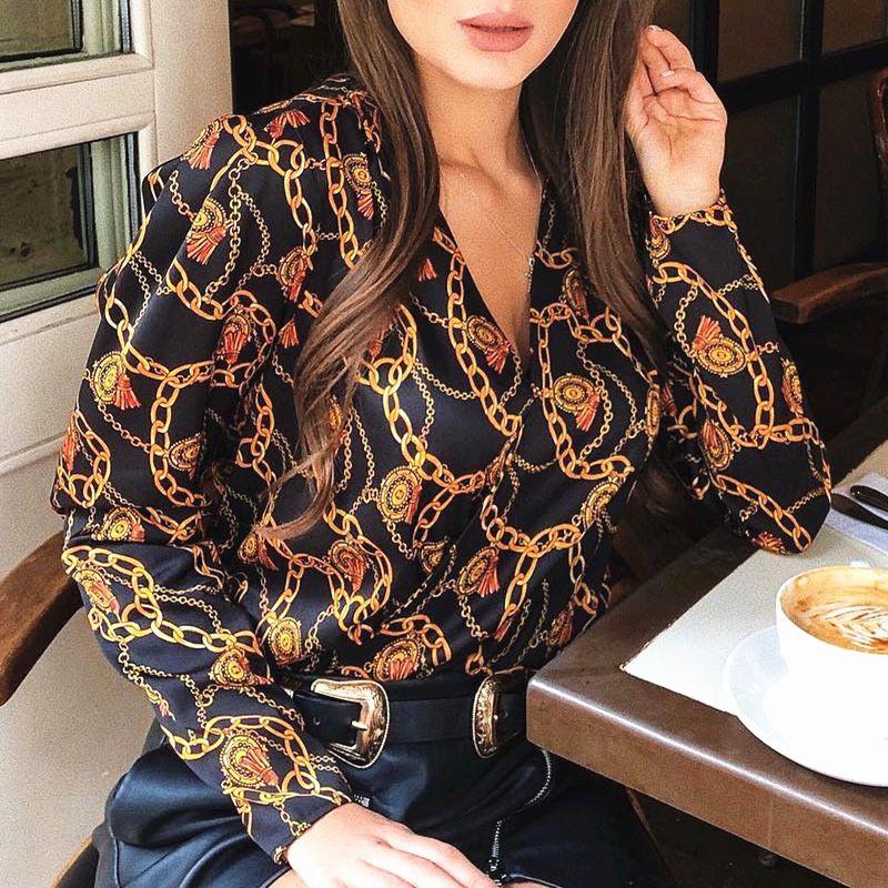 Nouvelle mode femmes mot de passe chaîne imprimé vintage blouse chemises femme vogue haute rue croisé col en v blouses hauts chemise