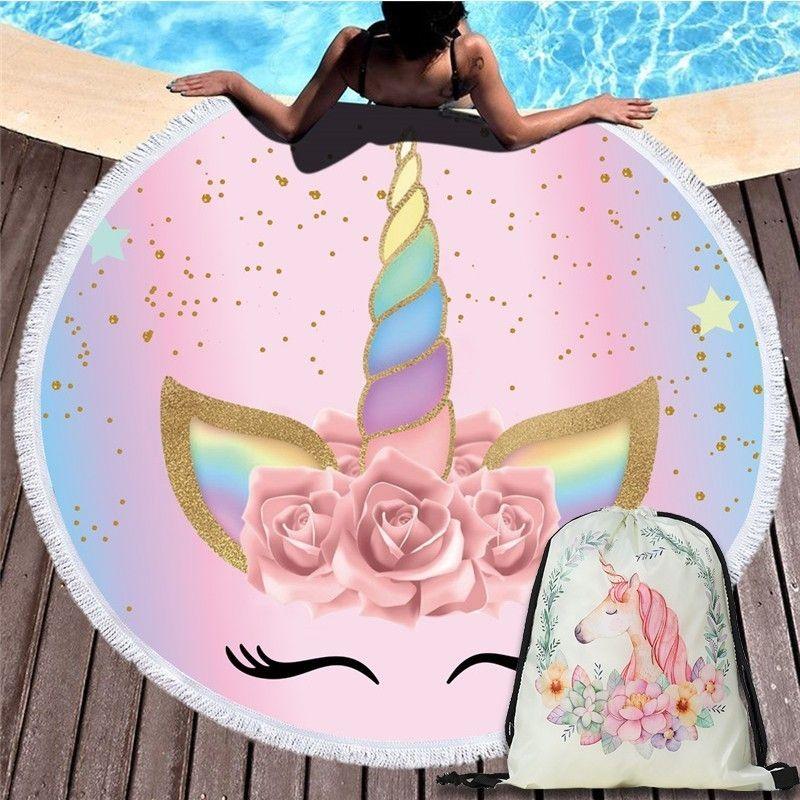 Cartoon licorne 150 cm serviette de plage ronde tapisserie murale pique-nique couverture Portable en plein air Sport sac de rangement paquet poche enfants cadeau
