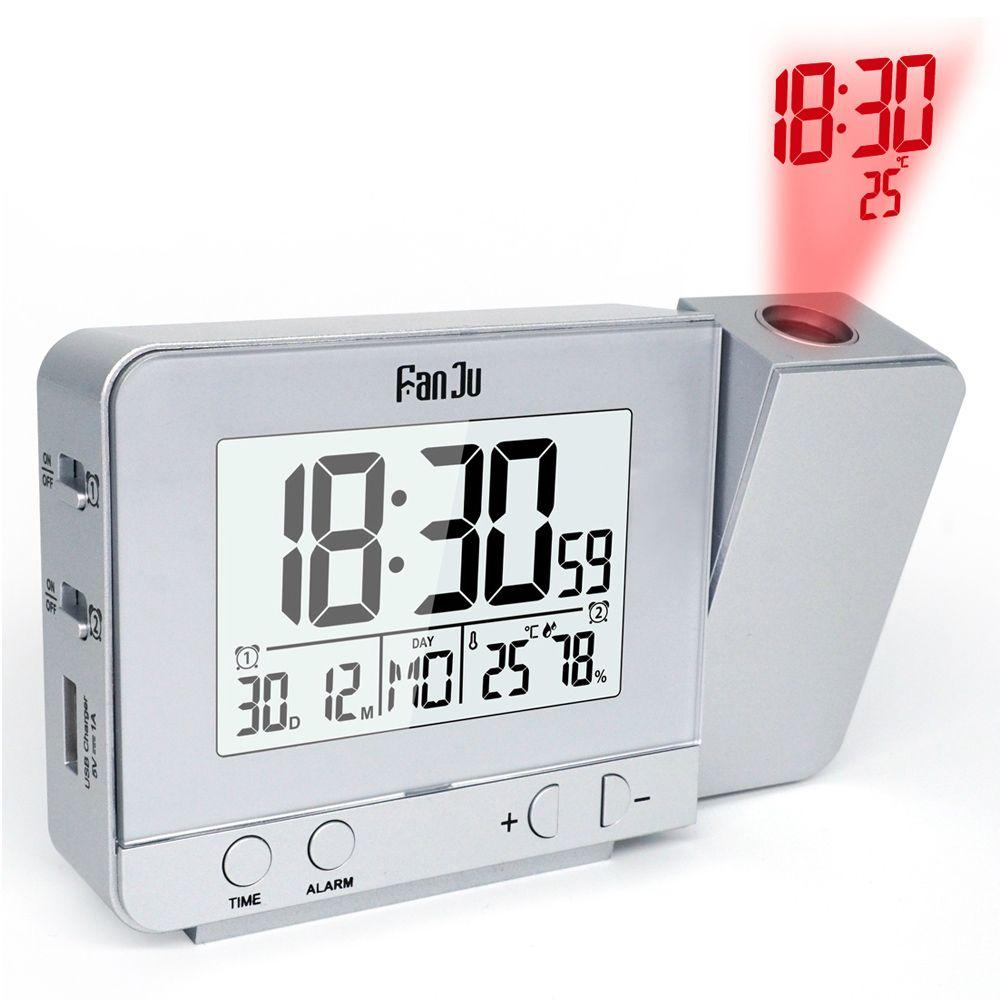 Original Fanju Rechargeable Wireless Projection Alarm Clock with Indoor Temperature Humidity And Time Projection Alarm Clock