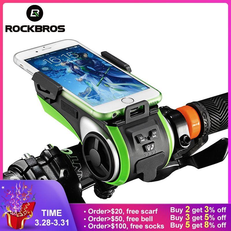 ROCKBROS Wasserdichte 5 in 1 Fahrrad Computer Telefon Halter Bluetooth Audio MP3 Player Lautsprecher 4400 mAh Power Bank Glocke Fahrrad licht