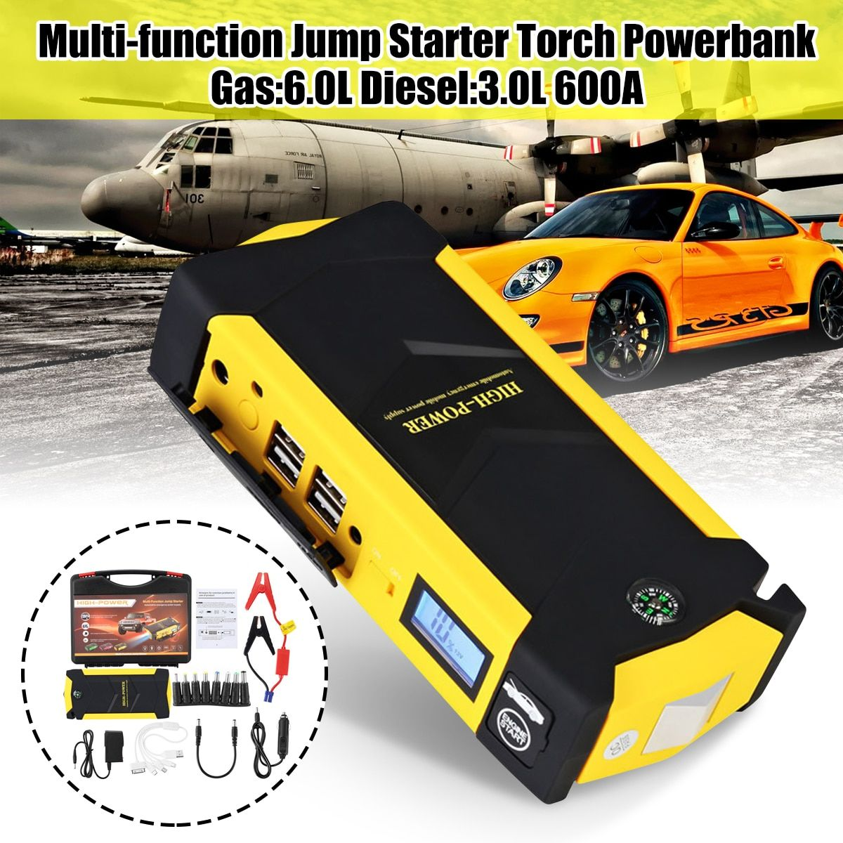 12V Mini Portable 82800mAh LED Car Jump Starter Engine Auto Emergency Starting Device Power Bank Car Phone Charger With 4USB