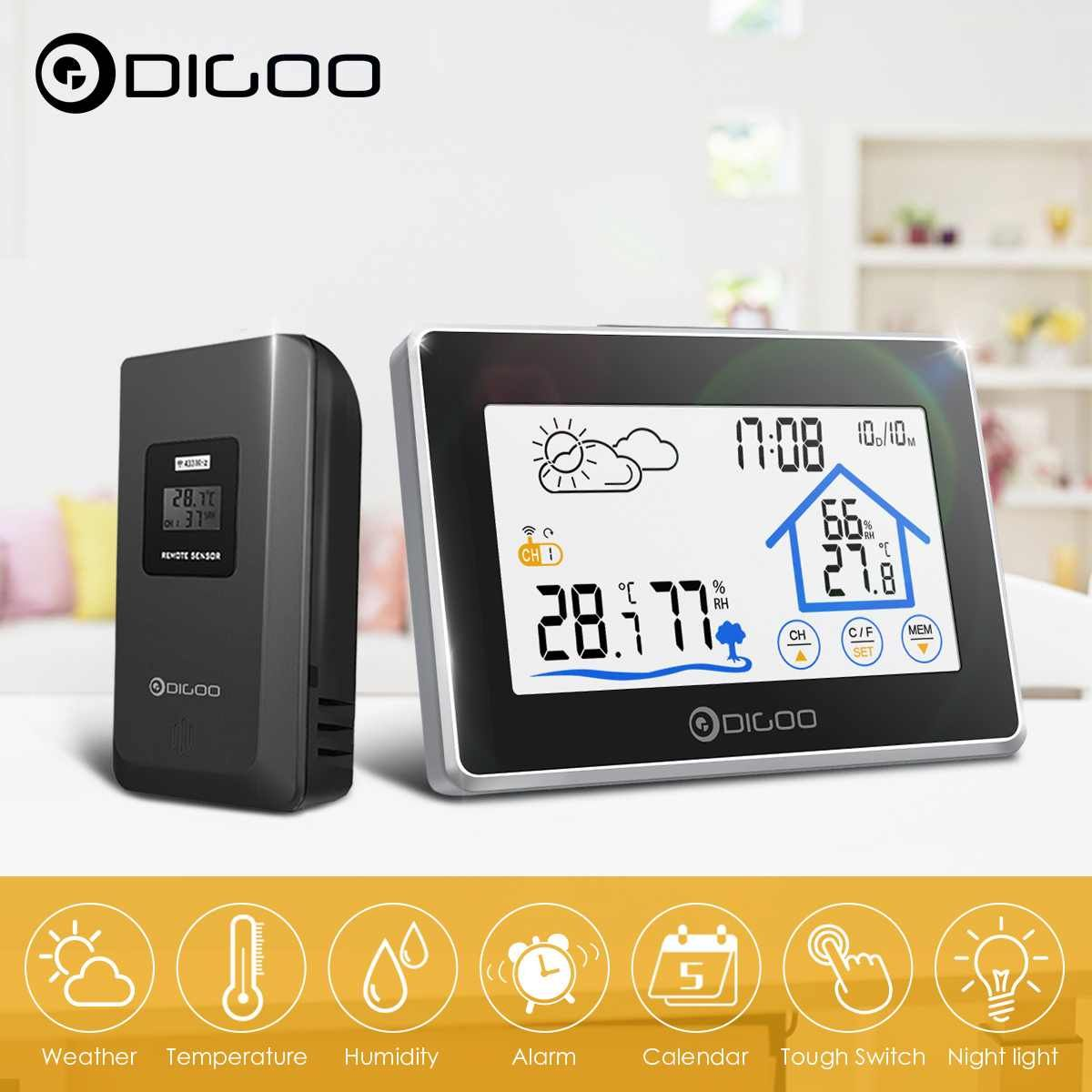 Digoo DG-TH8380 Touch Indoor Outdoor Weather Station + 100m Forecast Sensor Thermometer Hygrometer Meter Calendar 3CH Backlight