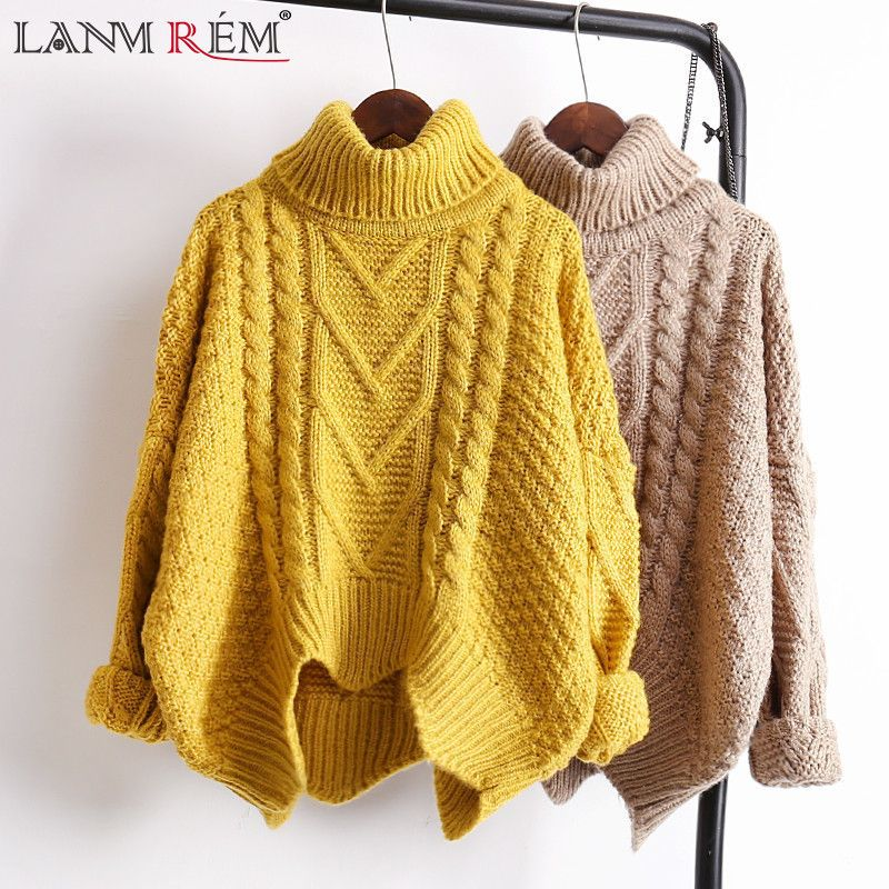 LANMREM autumn Autumn 2018 solid color hot sale turtleneck long sleeve knitting pullover keep warm sweater women M41003