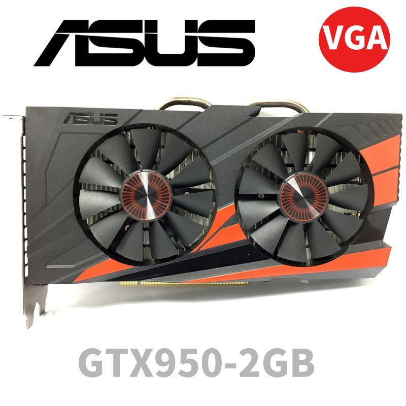 Asus GTX-950-OC-2GB GT950 GTX950 2G D5 DDR5 128 bits cartes graphiques nVIDIA pc de bureau PCI Express 3.0 cartes graphiques d'ordinateur