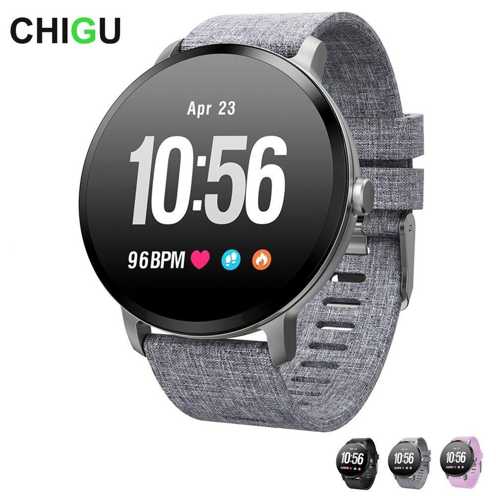 CHIGU V11 Smart watch IP67 waterproof Tempered glass Activity Fitness tracker Heart rate monitor Men women smartwatch
