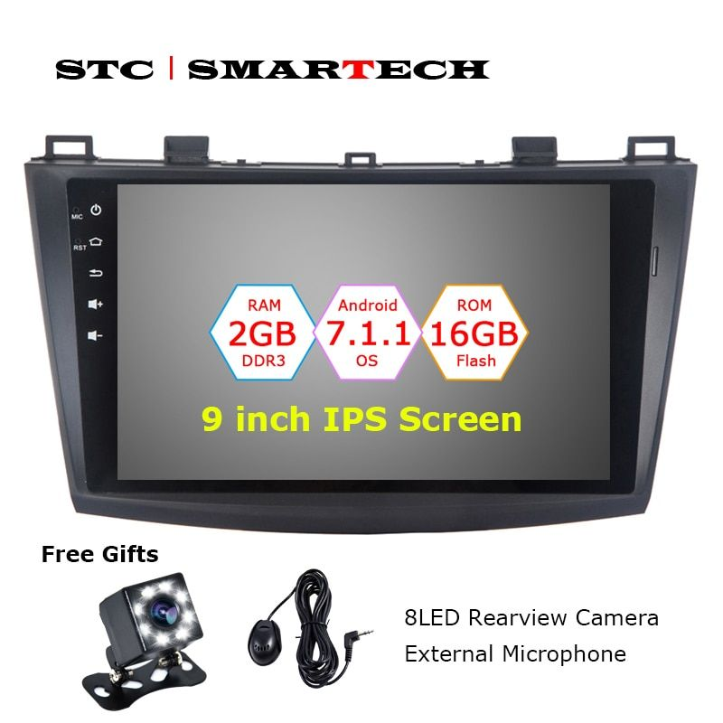 SMARTECH 2 Din Android 7.1.2 OS Car DVD Audio Player GPS Navigation for Mazda 3 Axela 9 inch Screen 2GB RAM 16GB ROM CAN-BUS