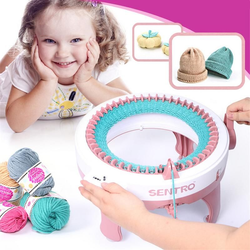 Sweet Pink Color Smart Weaver Knitting Machine Toy For Kids House Playing Toy Girls Birthday Present Nice Christmas Gift In Box