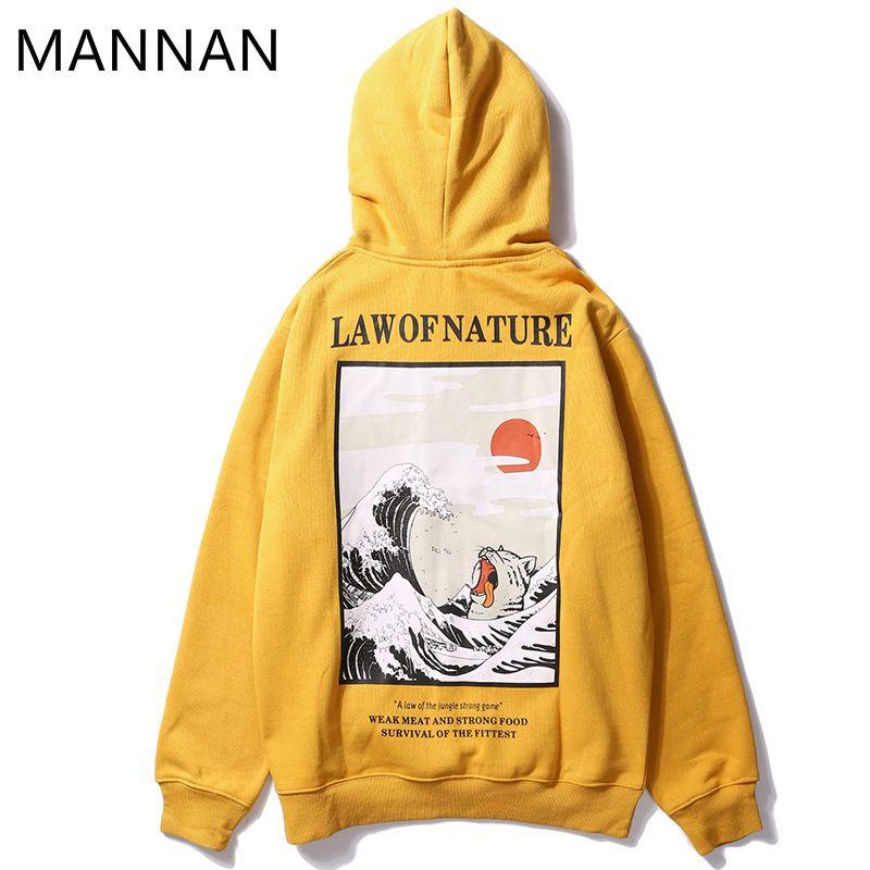 MANNAN homme blouson à capuche Streetwear peinture loi de fnature, blanc cassé Hip Hop décontracté coton écru