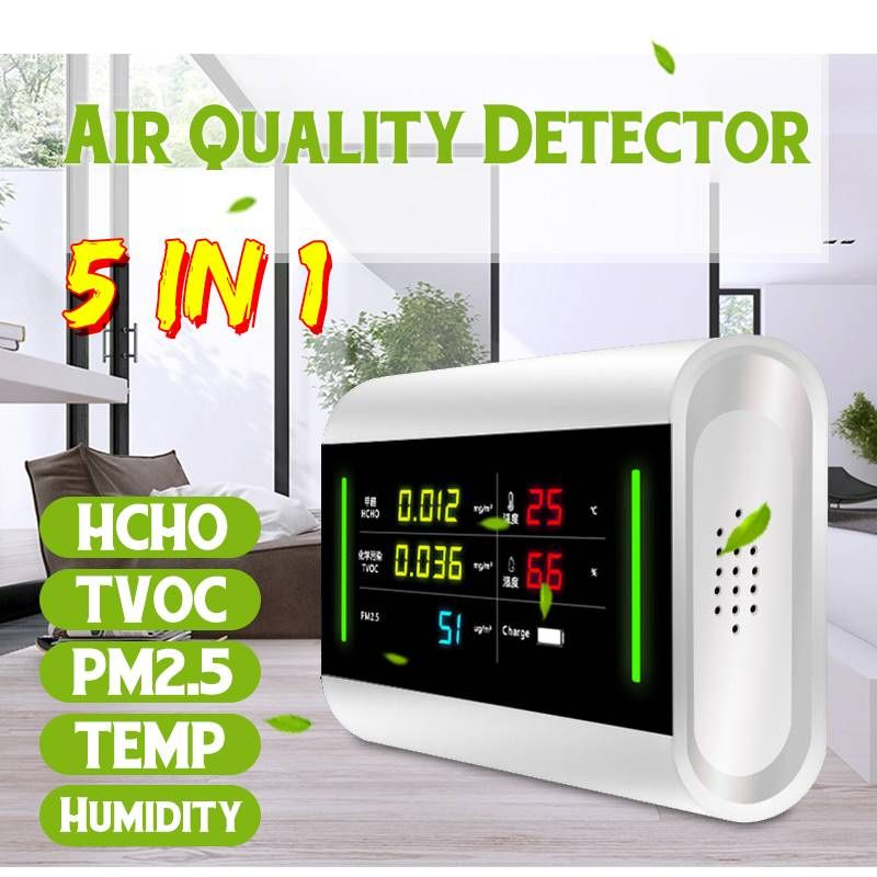 5 in 1 LCD Digital Formaldehyde Detector Meter Multifunctional Gas Analyzer HCHO / TVOC / PM2.5/Temperature/Humidity Household