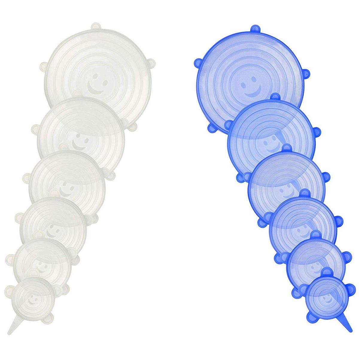 12 pièces Couvercles Extensibles en Silicone de Différentes Tailles de Stockage De Nourriture De Couvercle Économiseur Couvre Wrap pour Bols, Plats, Pots, Tasses et Conteneurs