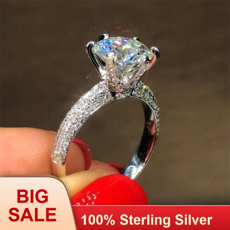 Klassische Sechs klaue 100% Soild 925 Sterling silber ring sona 1ct AAAAA Zirkon Cz Engagement hochzeit band ringe für frauen schmuck