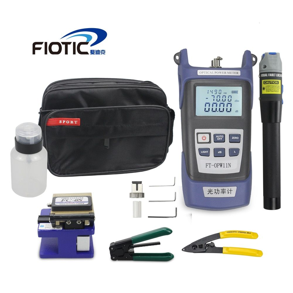 Fiber optic FTTH Tool Kit with Fiber Cleaver FC6S Optical Power Meter 5KM Visual Fault Locator 1MW Wire stripper miller clamp