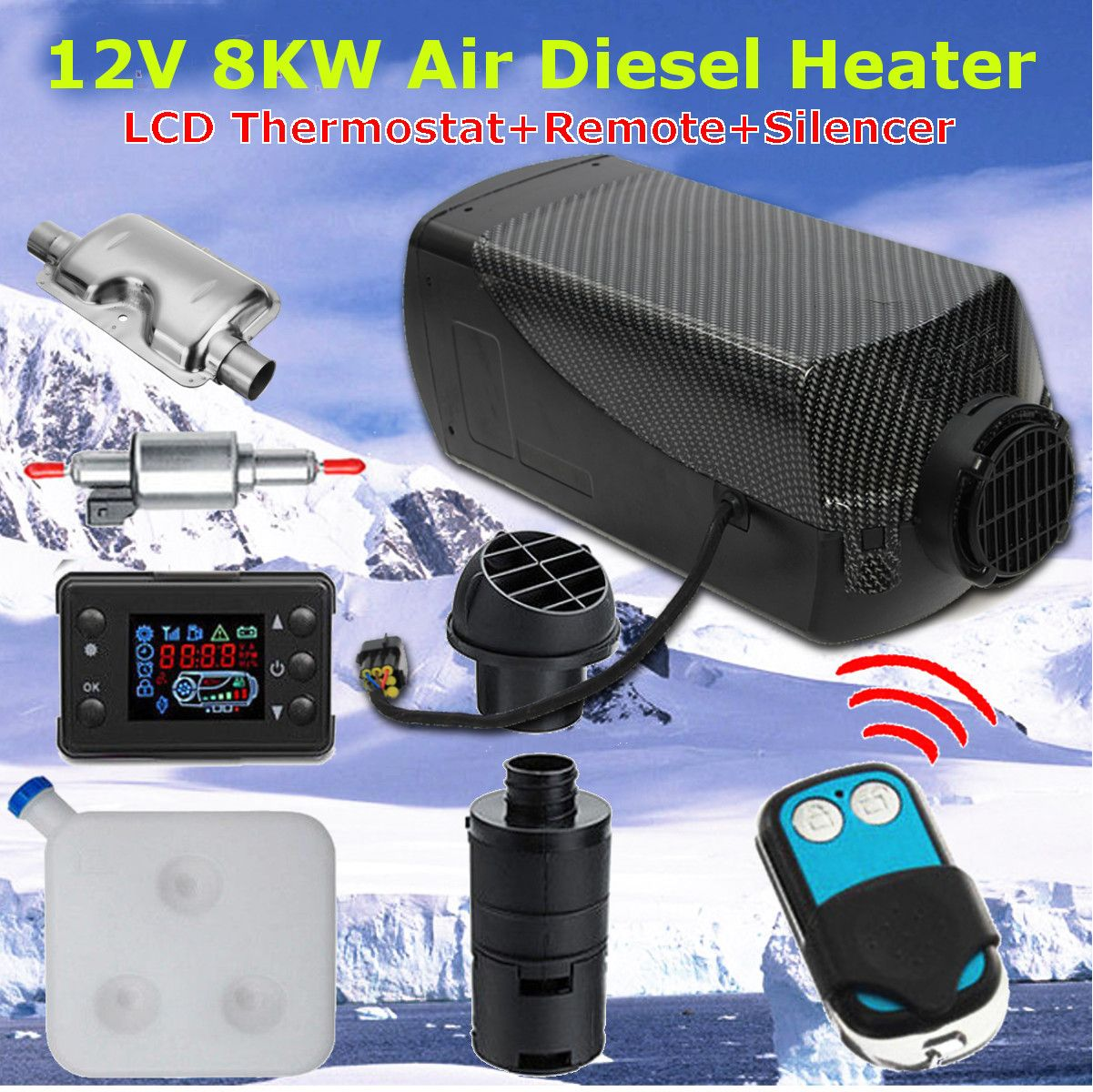 12V 8000W LCD Monitor Air diesels Fuel Heater Single Hole 8KW For Boat Bus Car Heater With Remote Control and Silencer For free