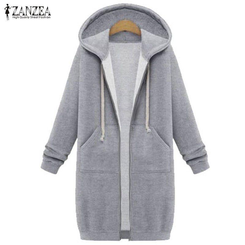 Oversized 2018 Autumn ZANZEA Women Casual Long Hoodies Sweatshirt Coat Pockets Zip Up Outerwear Hooded Jacket Plus Size Tops