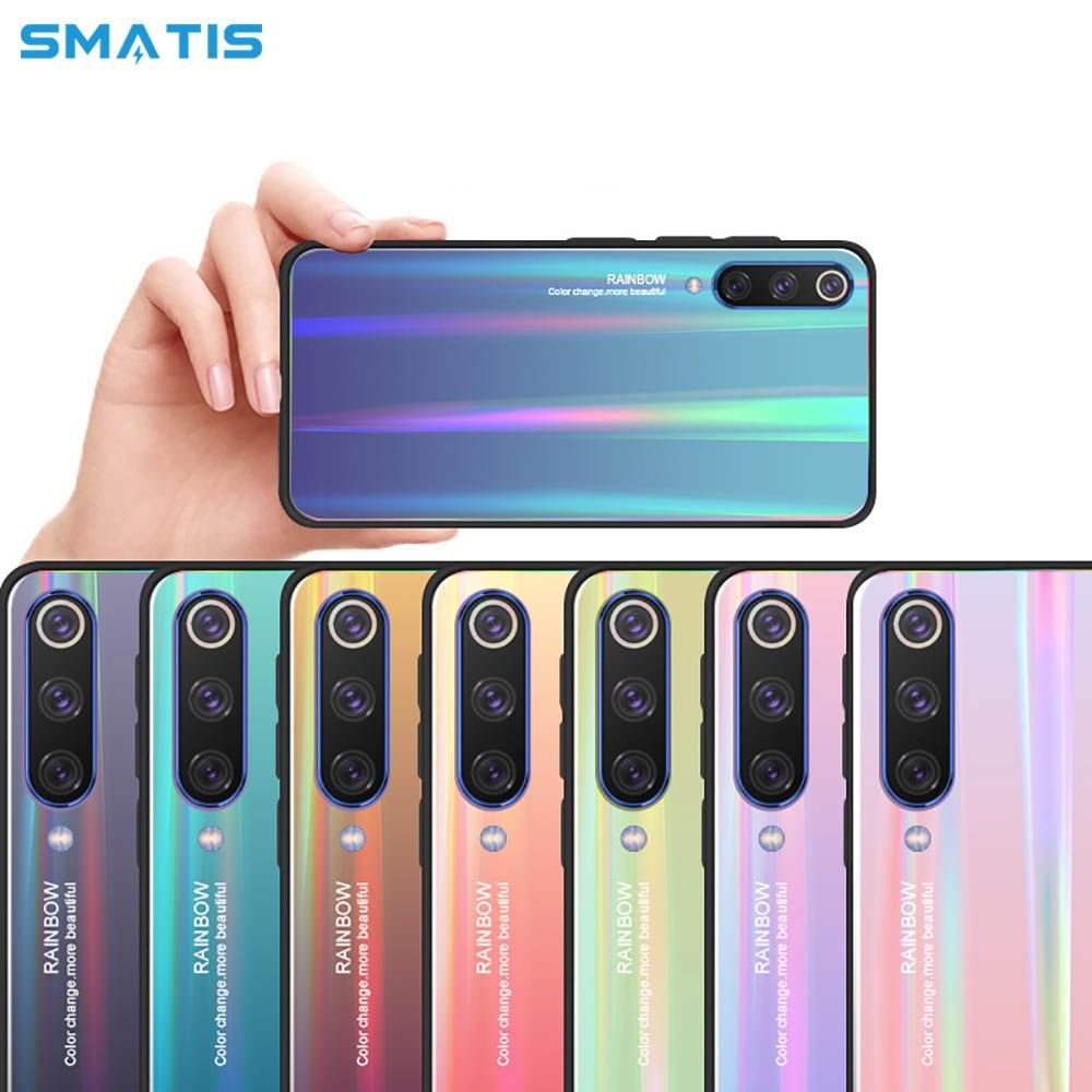 Phone Case for Xiaomi mi 9 8 se Mix 3 2 6 Huawei P30 Pro Fundas for Mate20 lite P20 Laser Tempered Glass Gradient Colorful Cover