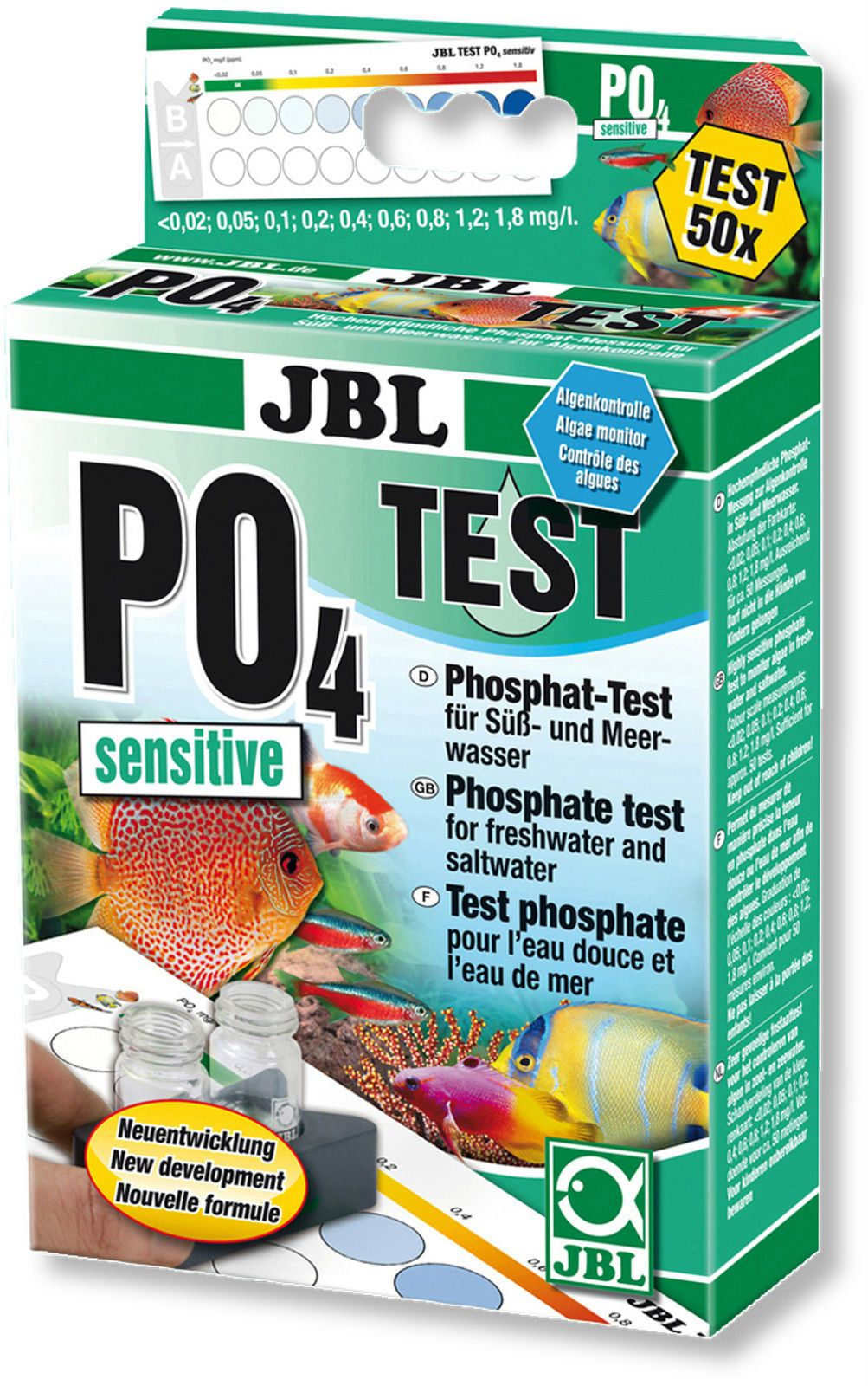 JBL PO4 Phosphat Empfindlicher Test Set Kit für Süßwasser und Marine Aquarien