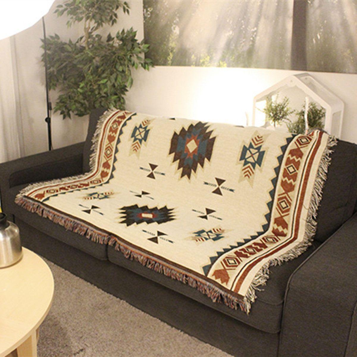 125x150 cm aztèque Navajo serviette tapis tenture murale coton jeter tapis géométrie tissé 125x150 cm coton pique-nique lavable pique-nique canapé blanc