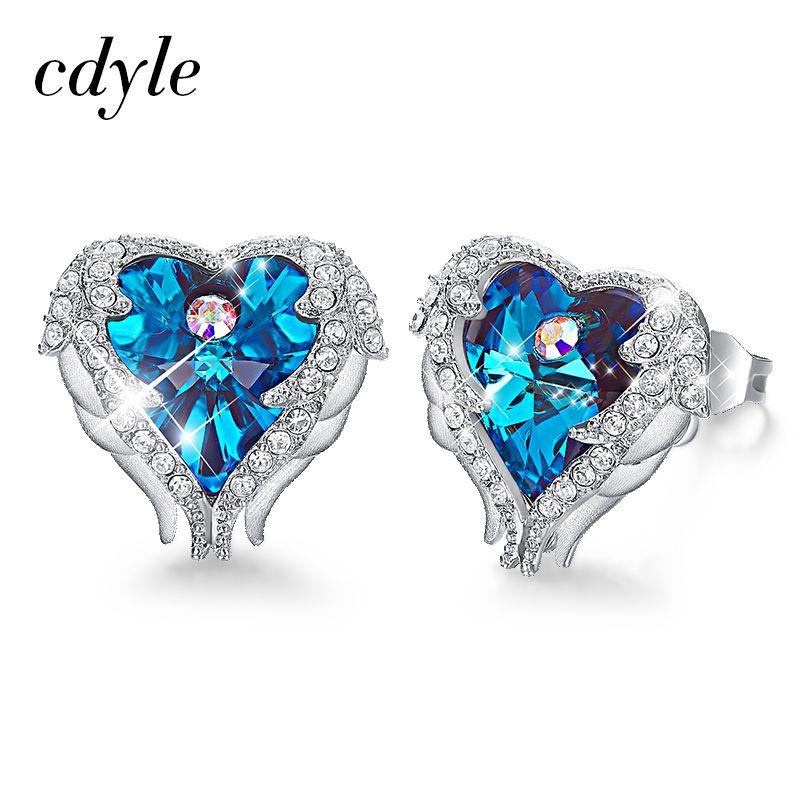 Cdyle Embellished with crystals from Swarovski Earrings Blue Purple Fashion Jewelry Elegant Heart Stud Earrings Women Valentine